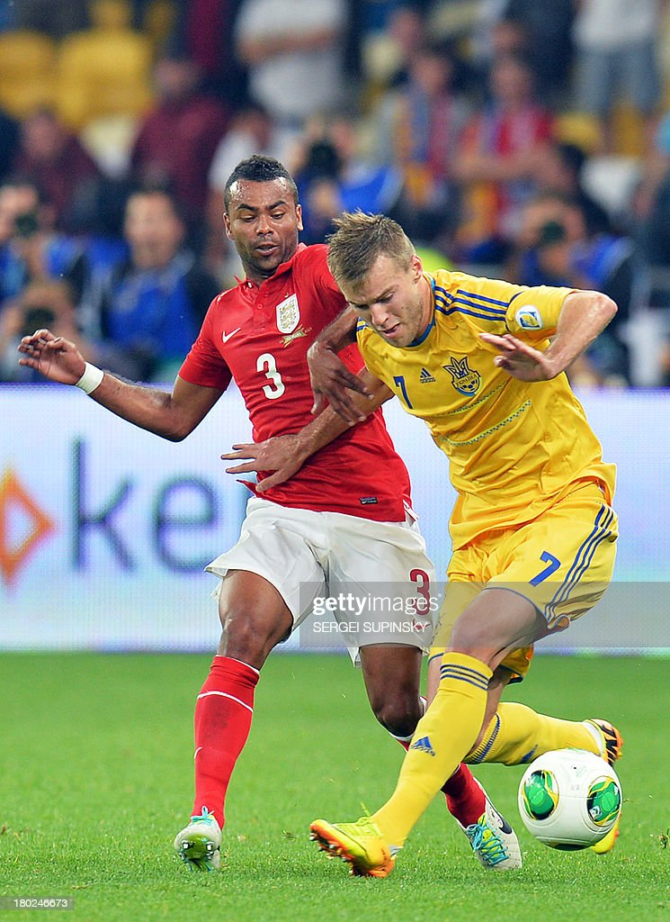 Ashley Cole (L) of England fights for a ball with Andriy Yarmolenko (R) of Ukraine during their Brazil 2014 FIFA World Cup qualifiers, Group H, football match in Kiev on September 10, 2013.