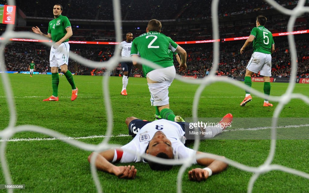 Ashley Cole of England looks despondent after a missed chance during the International Friendly match between England and the Republic of Ireland at Wembley Stadium on May 29, 2013 in London, England.