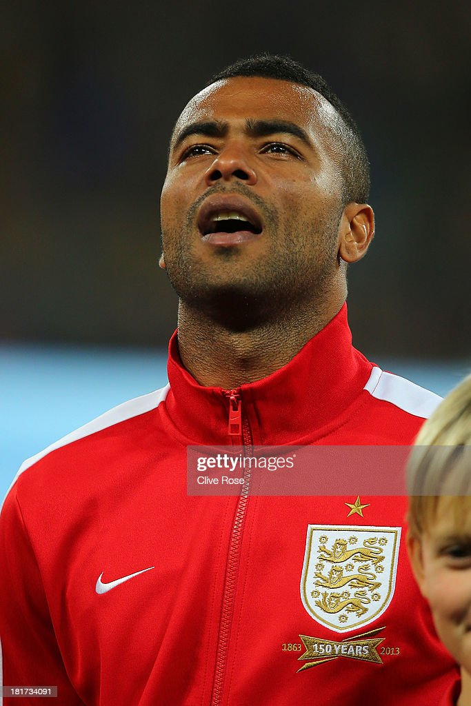 Ashley Cole of England looks on prior to the FIFA 2014 World Cup qualifying match between Ukraine and England at the Olympic Stadium on September 10, 2013 in Kiev, Ukraine.