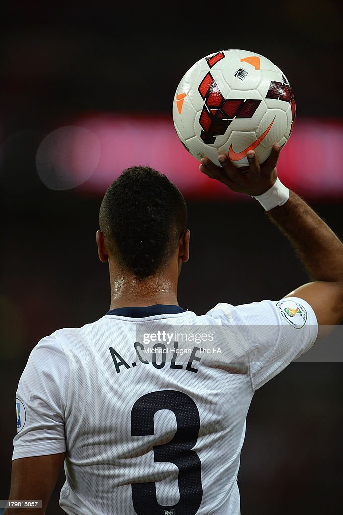 Ashley Cole of England prepares to take a throw in during the FIFA 2014 World Cup Qualifying Group H match between England and Moldova at Wembley Stadium on September 6, 2013 in London, England.