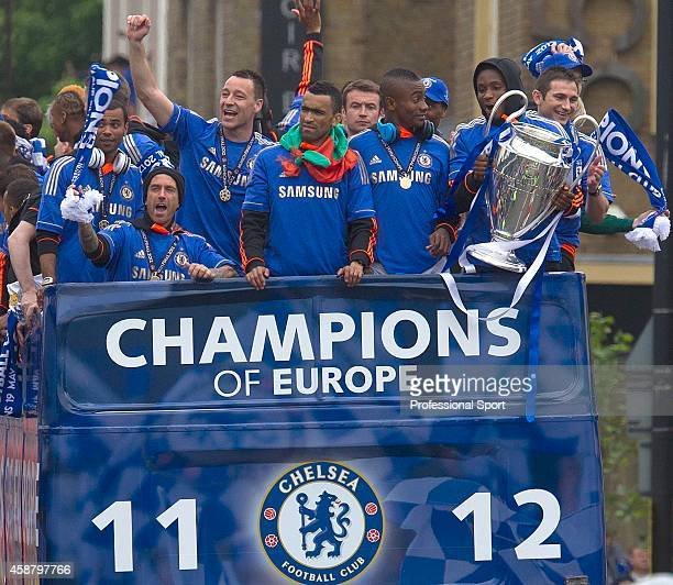 Ashley Cole Raul Meireles Captain John Terry Jose Bosingwa Salomon Kalou John Obi Mikel and Frank Lampard of Chelsea celebrate on an open top bus...