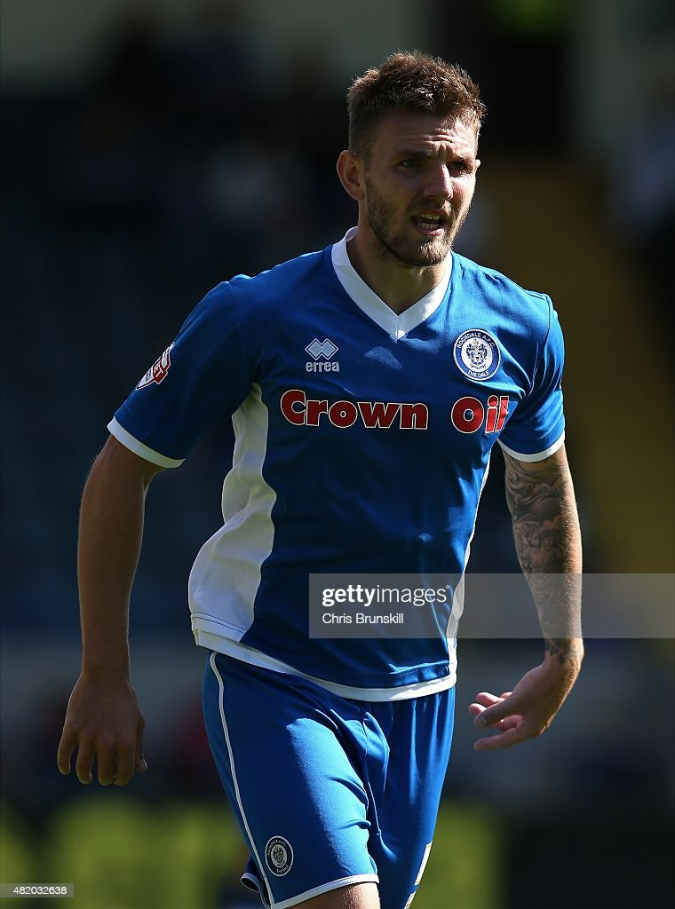 Ashley Eastham of Rochdale in action during the pre season friendly match between Rochdale and Huddersfield Town at Spotland on July 18 2015 in...