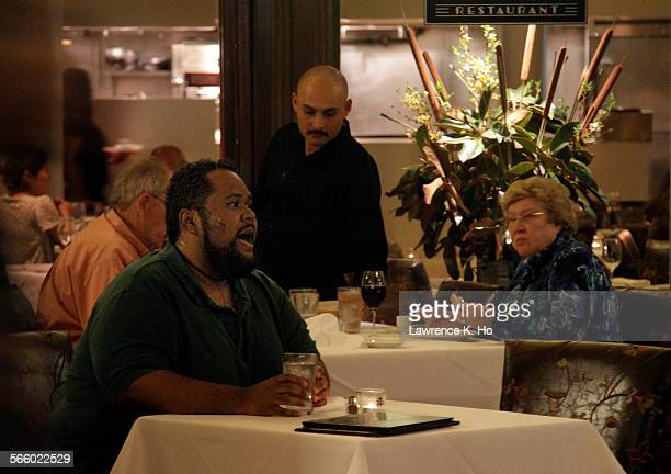 Ashley Faatoalia singing the role of Marco Polo during rehearsal of the opera 'Invisible Cities' in Traxx restaurant at Union Station in Los Angeles...