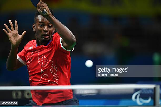 Ashley Facey Thompson of Great Britain competes in the Men's singles Table Tennis Class 9 on day 1 of the Rio 2016 Paralympic Games at Riocentro...