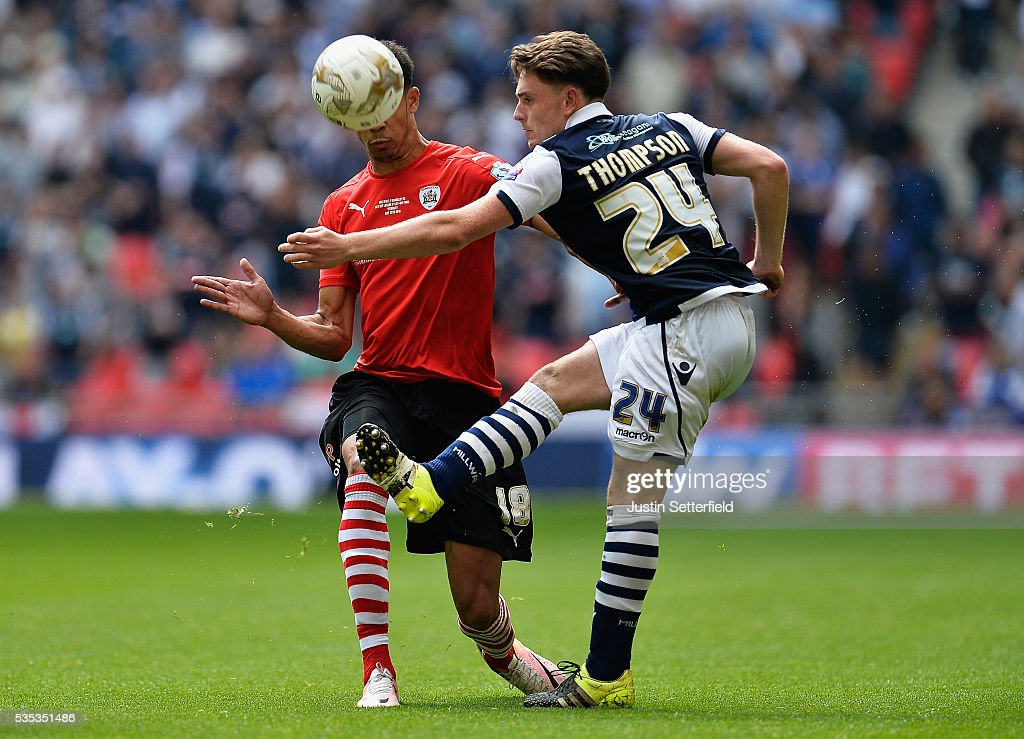 Ashley Fletcher of Barnsley FC and Ben Thompson of Millwall FC during the Sky Bet League One Play Off Final between Barnsley and Millwall at Wembley Stadium on May 29, 2016 in London, England.