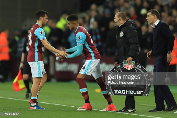 Ashley Fletcher of West Ham United comes on as a second half substitue for Jonathan Calleri of West Ham United during the Premier League match...