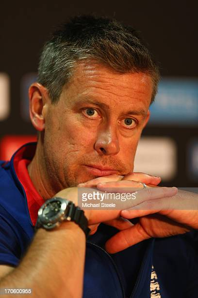 Ashley Giles Head Coach of England addresses the media at the England press conference at the SWALEC Stadium on June 15 2013 in Cardiff Wales