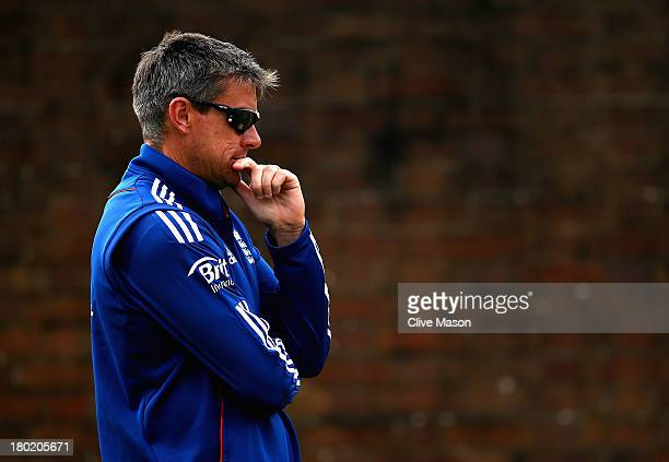 Ashley Giles of England looks on during a net session ahead of the third NatWest One Day International Series match between England and Australia at...