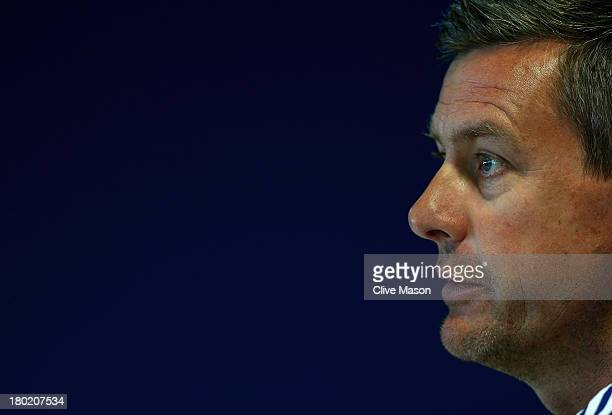 Ashley Giles of England talks during a press conference ahead of the third NatWest One Day International Series match between England and Australia...