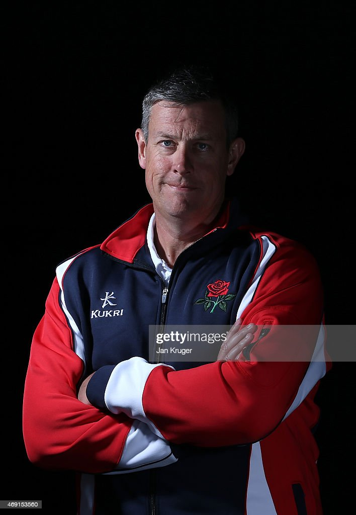 Ashley Giles poses during the Lancashire CCC Photocall at Old Trafford on April 10 2015 in Manchester England