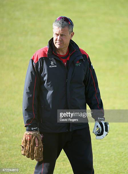 Ashley Giles the Lancashire head coach looks on during day three of the LV Division Two County Championship match between Northamptonshire and...