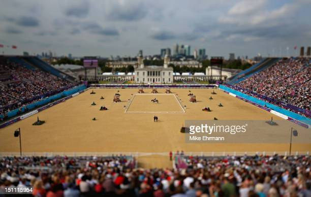 Ashley Gowanlock of Canada riding Maile competes in the Equestrian Individual Freestyle Test Grade Ib on day 3 of the London 2012 Paralympic Games at...
