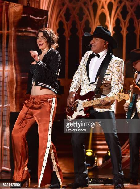 Ashley Grace Perez Mosa of HaAsh and Jose Guadalupe Esparza of Bronco perform onstage during The 18th Annual Latin Grammy Awards at MGM Grand Garden...