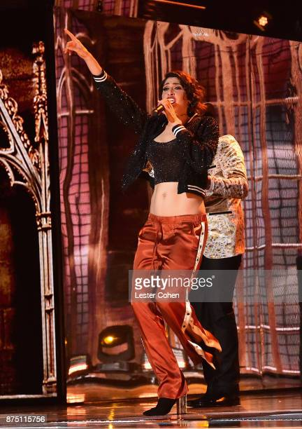 Ashley Grace Perez Mosa of HaAsh performs onstage during The 18th Annual Latin Grammy Awards at MGM Grand Garden Arena on November 16 2017 in Las...