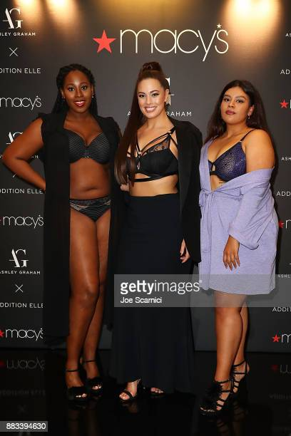 Ashley Graham and models pose as she brings her latest lingerie collection to Macy's South Coast Plaza at Macy's South Coast Plaza on November 30...