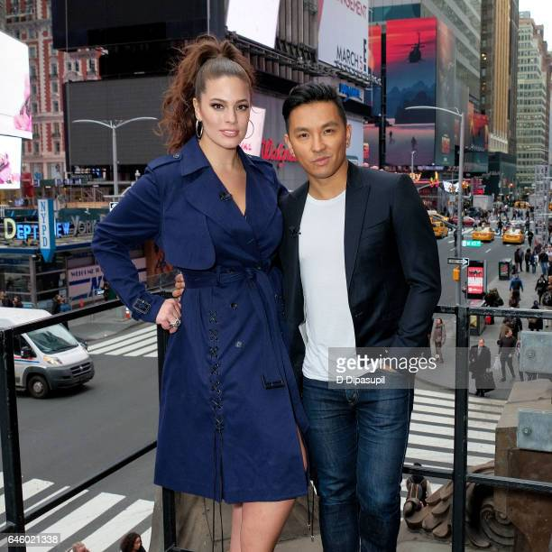 Ashley Graham and Prabal Gurung visit 'Extra' at their New York studios at the Hard Rock Cafe in Times Square on February 27 2017 in New York City