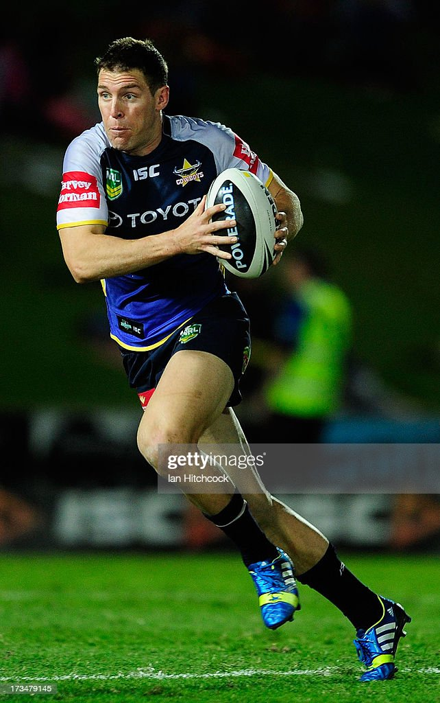 Ashley Graham of the Cowboys runs the ball during the round 18 NRL match between the North Queensland Cowboys and the Manly Sea Eagles at 1300SMILES Stadium on July 15, 2013 in Townsville, Australia.