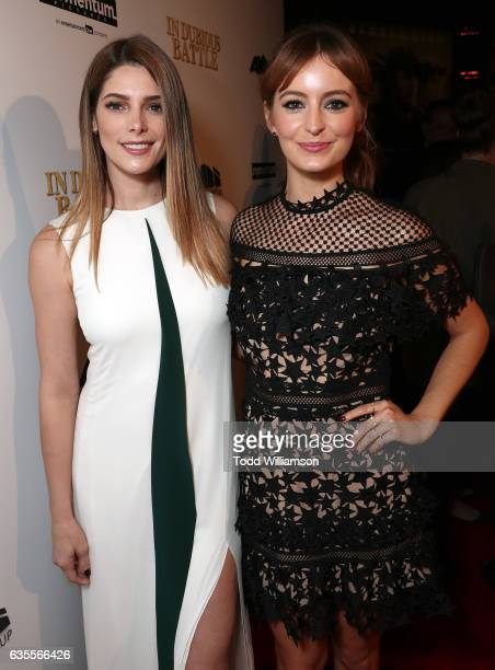 Ashley Greene and Ahna O'Reilly attend the premiere of Momentum Pictures' 'In Dubious Battle' at ArcLight Hollywood on February 15 2017 in Hollywood...