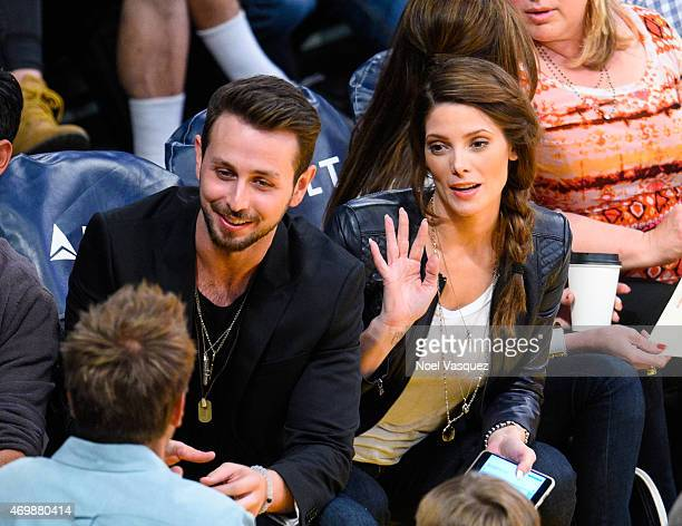 Ashley Greene and Paul Khoury attend a basketball game between the Sacramento Kings and the Los Angeles Lakers at Staples Center on April 15 2015 in...