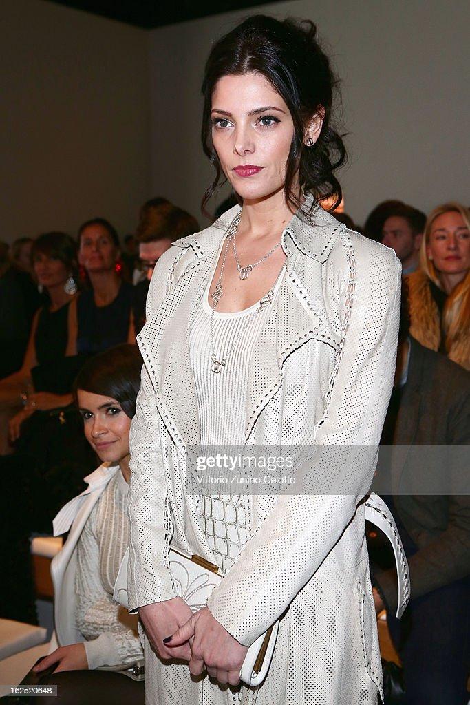 Ashley Greene attends the Salvatore Ferragamo fashion show during Milan Fashion Week Womenswear Fall/Winter 2013/14 on February 24, 2013 in Milan, Italy.