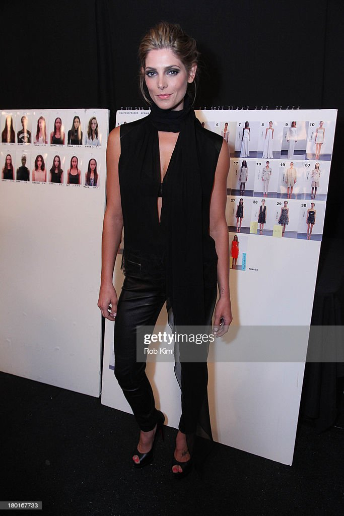 <a gi-track='captionPersonalityLinkClicked' href=/galleries/search?phrase=Ashley+Greene&family=editorial&specificpeople=781552 ng-click='$event.stopPropagation()'>Ashley Greene</a> backstage at the Kaufmanfranco show during Spring 2014 Mercedes-Benz Fashion Week at The Theatre at Lincoln Center on September 9, 2013 in New York City.