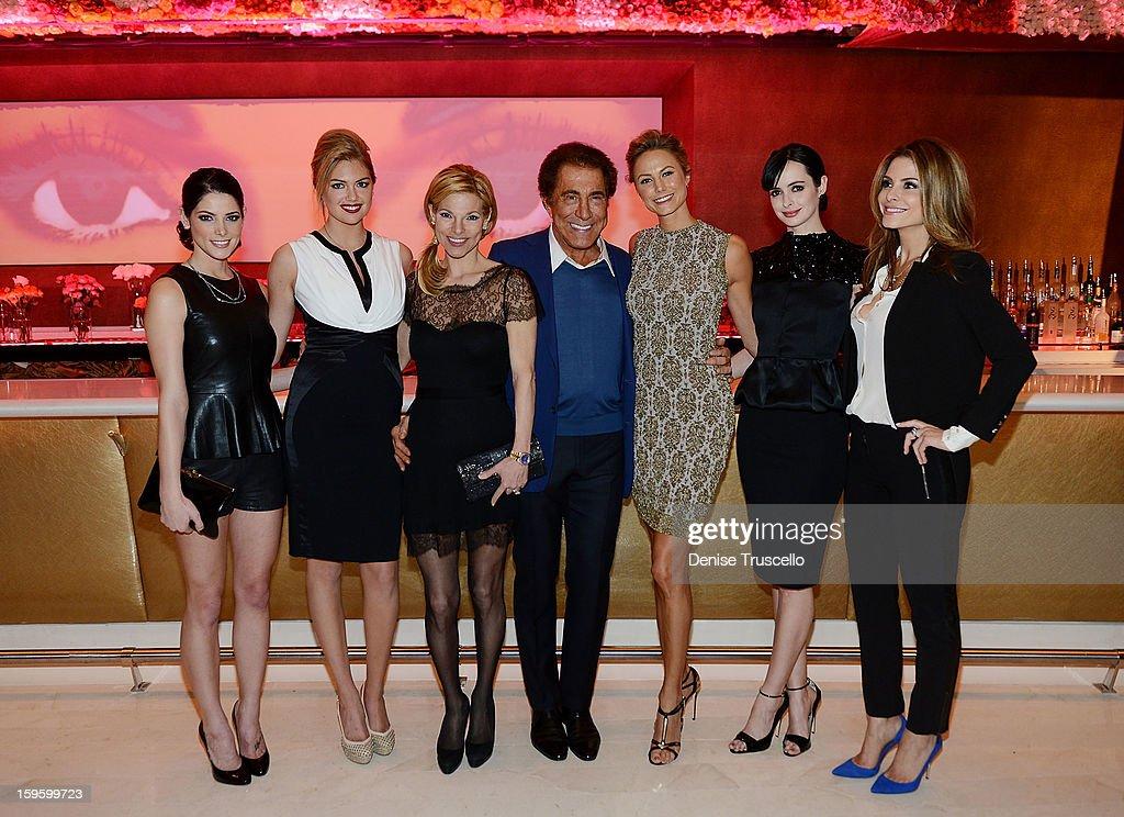 Ashley Greene, Kate Upton, Andrea Wynn, Steve Wynn, Stacy Keibler, Krysten Ritter and Maria Menounos attend Andrea's grand opening of Andrea's at Wynn Las Vegas on January 16, 2013 in Las Vegas, Nevada.