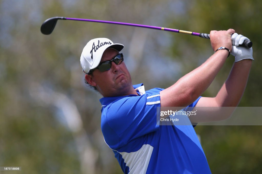 Ashley Hall of Australia plays his tee shot during day four of the PGA Royal Pines on November 10, 2013 in Gold Coast, Australia.