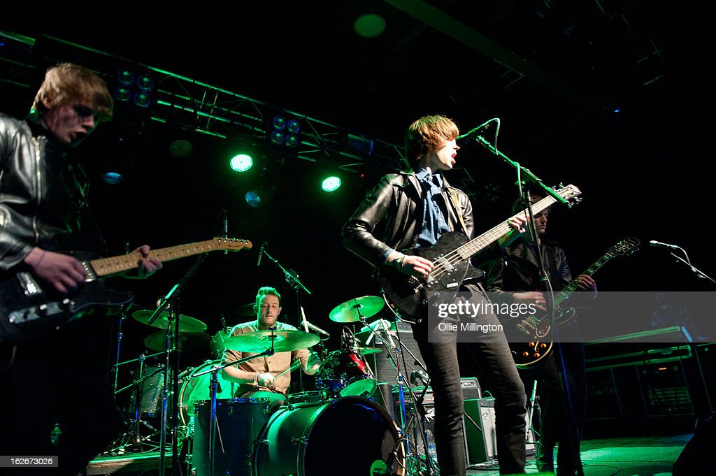 Ashley Harding, Jordan Mahe, Ross McLeod and Ben Porter of Likely Lads perform onstage at o2 Academy on February 25, 2013 in Leicester, England.