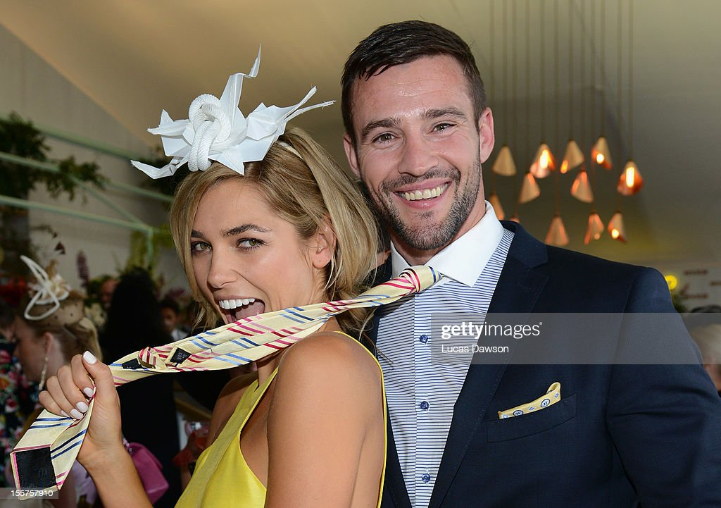 Ashley Hart and Kris Smith attend the Myer marquee on Crown Oaks Day at Flemington Racecourse on November 8, 2012 in Melbourne, Australia.