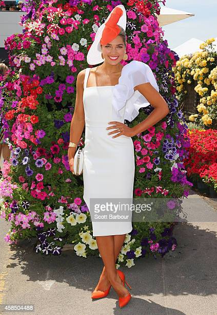 Ashley Hart attends on Oaks Day at Flemington Racecourse on November 6 2014 in Melbourne Australia