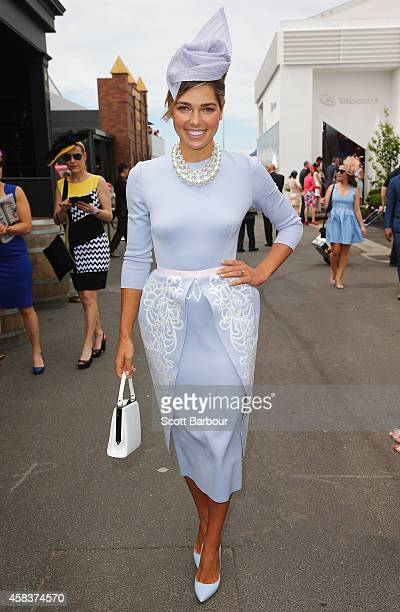 Ashley Hart attends the Swisse Marquee on Melbourne Cup Day at Flemington Racecourse on November 4 2014 in Melbourne Australia
