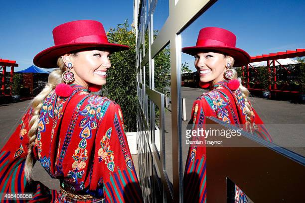Ashley Hart poses on Melbourne Cup Day at Flemington Racecourse on November 3 2015 in Melbourne Australia