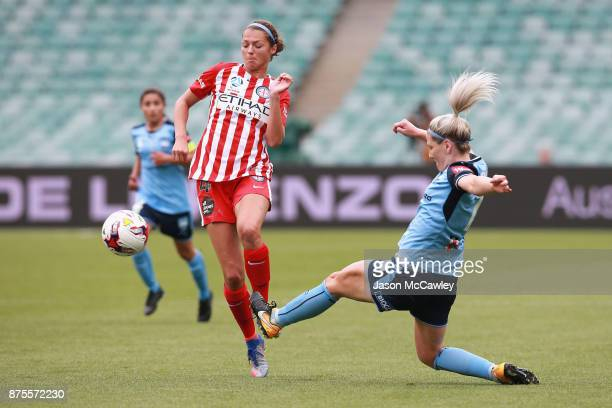 Ashley Hatch of Melbourne is challenged by Caitlin Cooper of Sydney during the round four WLeague match between Sydney and Melbourne City at Allianz...