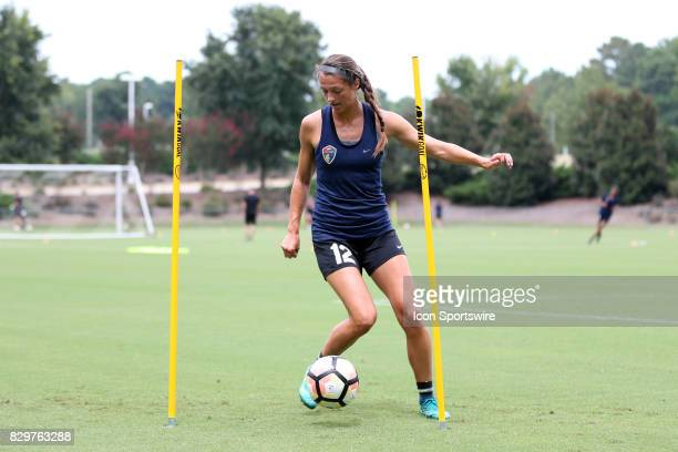 Ashley Hatchduring a North Carolina Courage training session on July 27 at WakeMed Soccer Park Field 7 in Cary NC