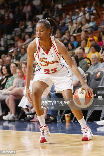 Ashley Hayes of the Connecticut Sun drives the ball to the basket during the WNBA preseason game against the New York Liberty on May 22 2009 at...