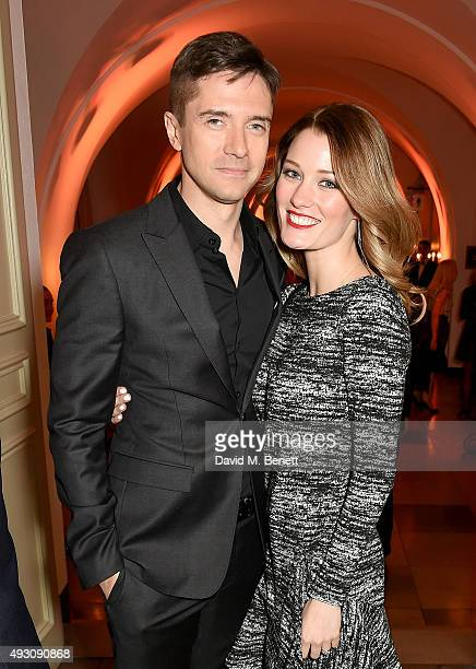 Ashley Hinshaw and Topher Grace attend the BFI London Film Festival Awards at Banqueting House on October 17 2015 in London England