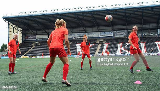 Ashley Hodson Rosie White Martha Harris and Katie Zelem of Liverpool Ladies during the warmup before the Liverpool Ladies v Doncaster Rovers Belles...