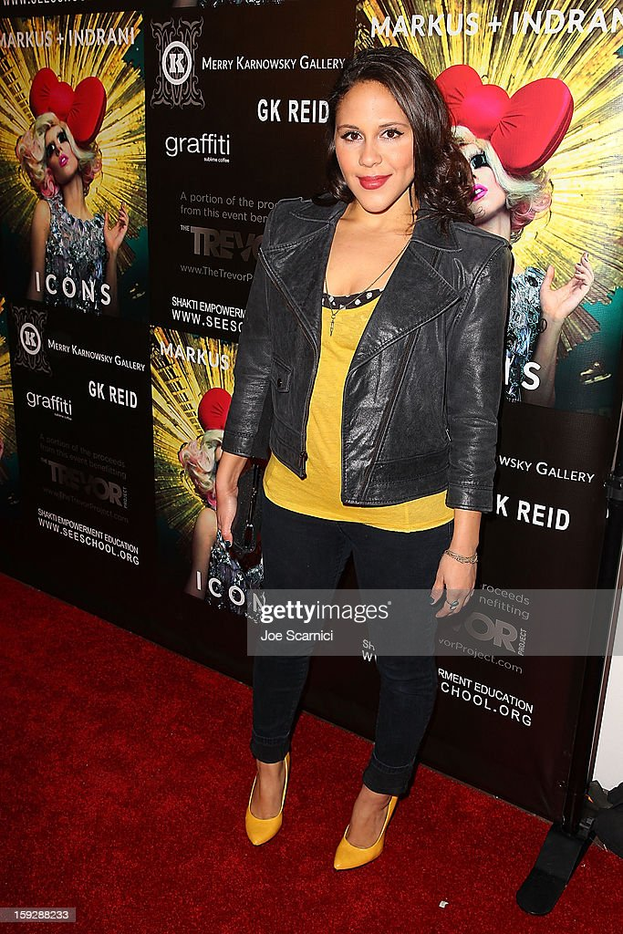 Ashley Holiday arrives at Markus + Indrani Icons book launch party hosted by Carmen Electra benefiting The Trevor Project at Merry Karnowsky Gallery & Graffiti on January 10, 2013 in Los Angeles, California.