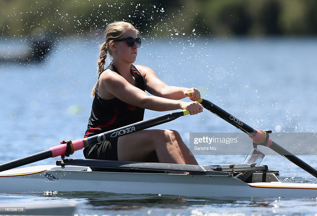 Ashley Holland of Gisborne Girls High races in the Girls U18 single sculls during the New Zealand Junior Rowing Regatta on February 23, 2013 in Auckland, New Zealand.