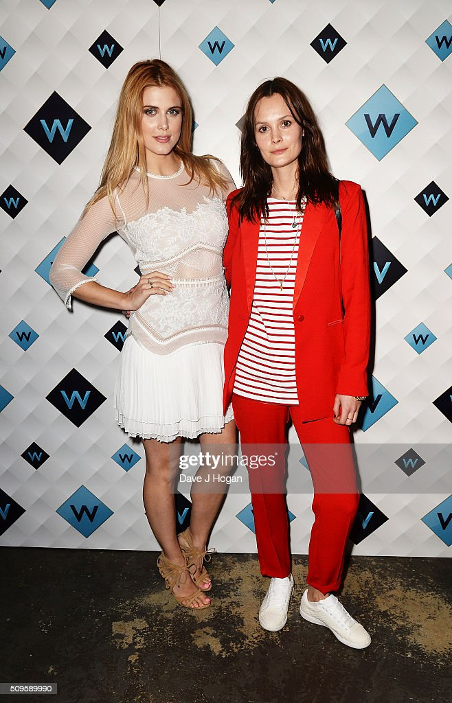 Ashley James (L) and Charlotte De Carle attend a celebration of the new TV channel 'W,' launching on Monday 15th February, at Union Street Cafe on February 11, 2016 in London, England.