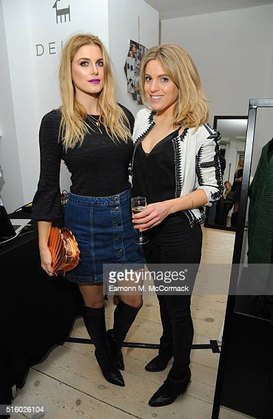 Ashley James and Olivia Cox attend the DELAM Luxury Cashmere brand launch Notting Hill on March 16 2016 in London England