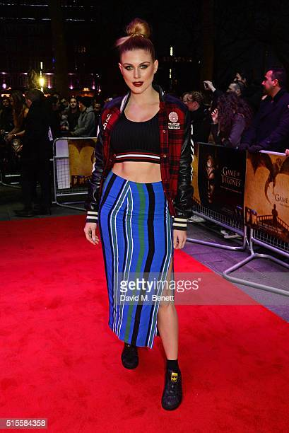 Ashley James arrives for a Gala Screening of 'Game of Thrones' Season 5 Episode 8 'Hardhome' at Empire Leicester Square on March 14 2016 in London...