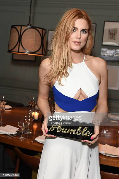 Ashley James attends a private dinner hosted by Whitney Wolfe founder and CEO of Bumble dating app at Soho House on March 3 2016 in London England