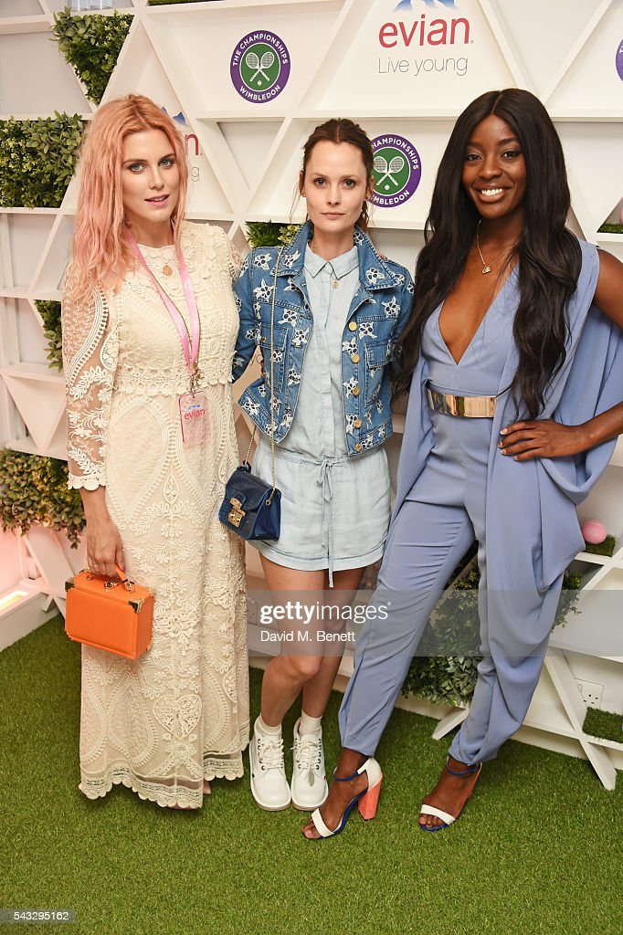 Ashley James, Charlotte de Carle and AJ Odudu attend the evian Live Young suite during Wimbledon 2016 at the All England Tennis and Croquet Club on June 27, 2016 in London, England.