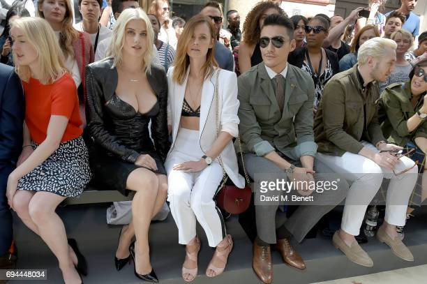 Ashley James Charlotte de Carle and Hu Bing attend the LFWM John Smedley S/S 18 show hosted by St James's in Jermyn Street on June 10 2017 in London...