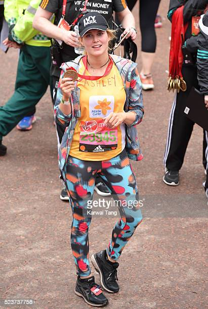 Ashley James finishes the Virgin London Marathon 2016 on April 24 2016 in London England