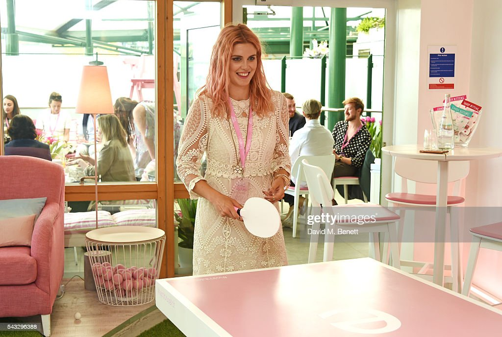 Ashley James plays ping pong in the evian Live Young suite during Wimbledon 2016 at the All England Tennis and Croquet Club on June 27, 2016 in London, England.