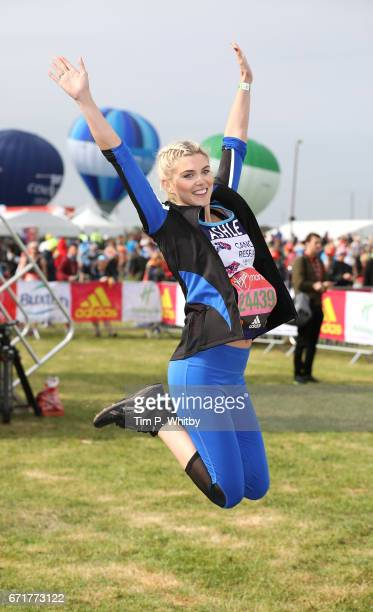Ashley James poses for a photo ahead of participating in The Virgin London Marathon on April 23 2017 in London England
