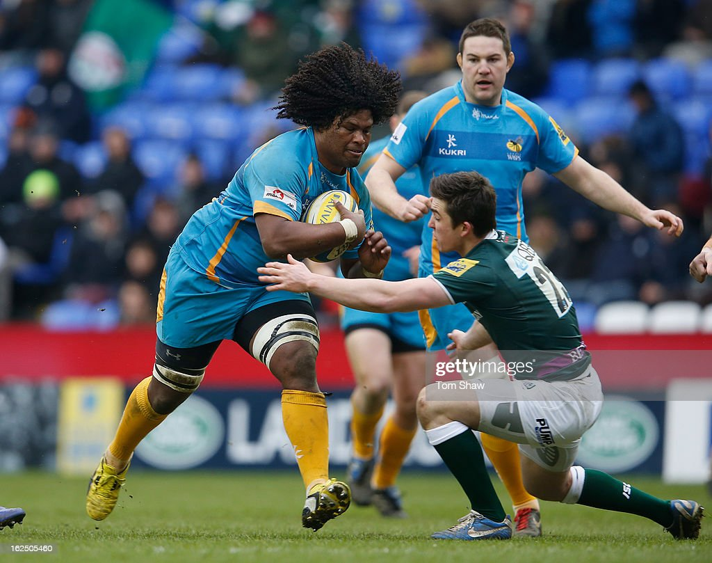 <a gi-track='captionPersonalityLinkClicked' href=/galleries/search?phrase=Ashley+Johnson+-+Rugby+Union+Player&family=editorial&specificpeople=15285872 ng-click='$event.stopPropagation()'>Ashley Johnson</a> of Wasps is tackled during the Aviva Premiership match between London Irish and London Wasps at Madejski Stadium on February 24, 2013 in Reading, England.