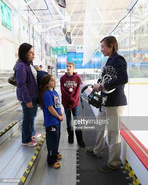 Ashley Johnston of the New York Riveters of the National Womens Hockey League speaks with fans prior to the game against the Connecticut Whale at the...